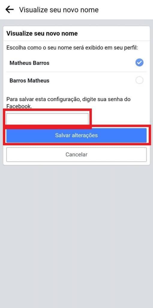 Print das configurações do aplicativo do Facebook