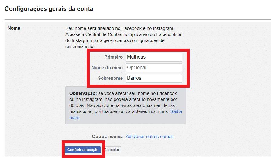 Print das configurações do site do Facebook