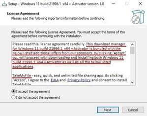 Tela do falso instalador do Windows 11