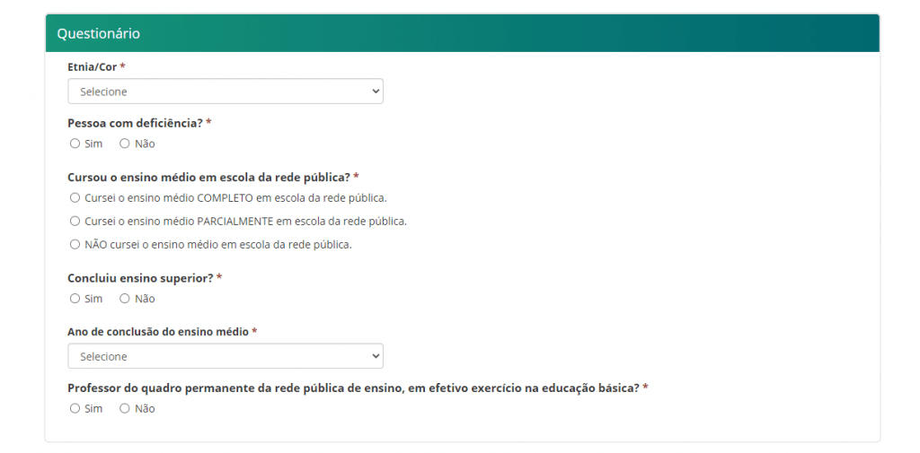 Print do portal oficial do Fies