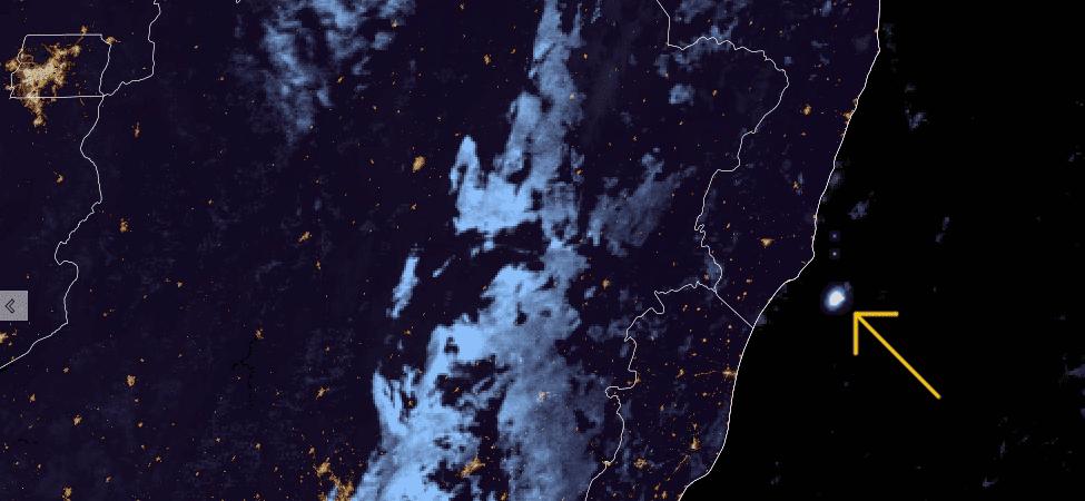 Destello de meteorito registrado por el satélite GOES-16