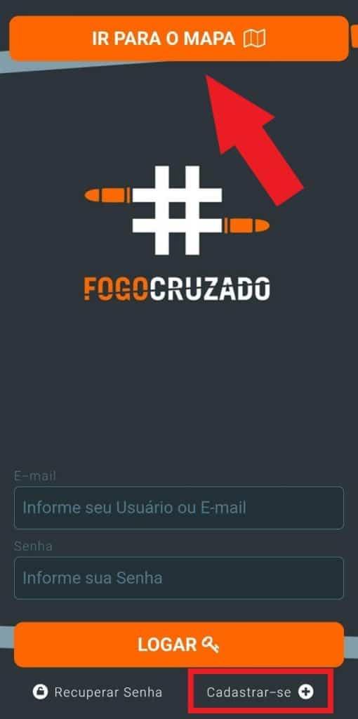 Print do aplicativo Fogo Cruzado
