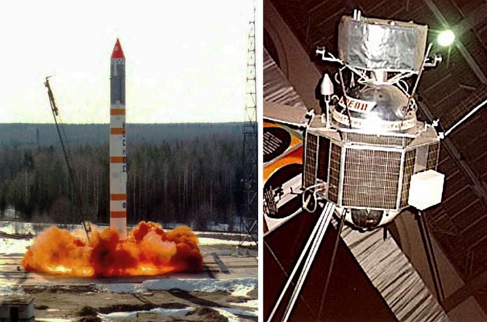 Kosmos-3M rocket (left) and DS-U2-GKA satellite (right)