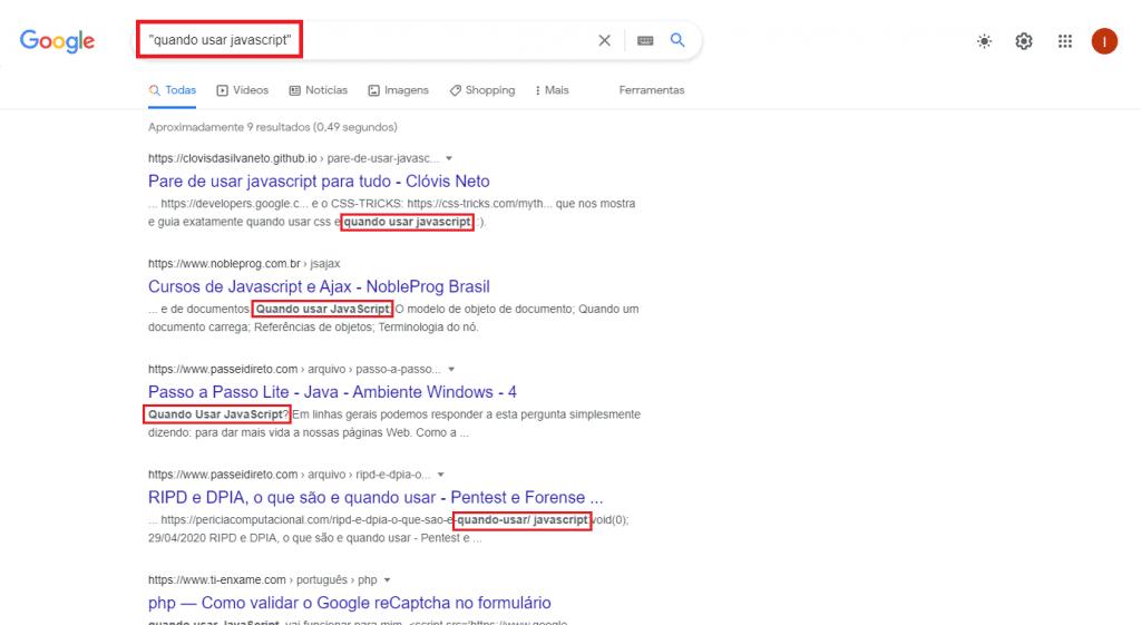 Pesquisando no Google com aspas no termo desejado