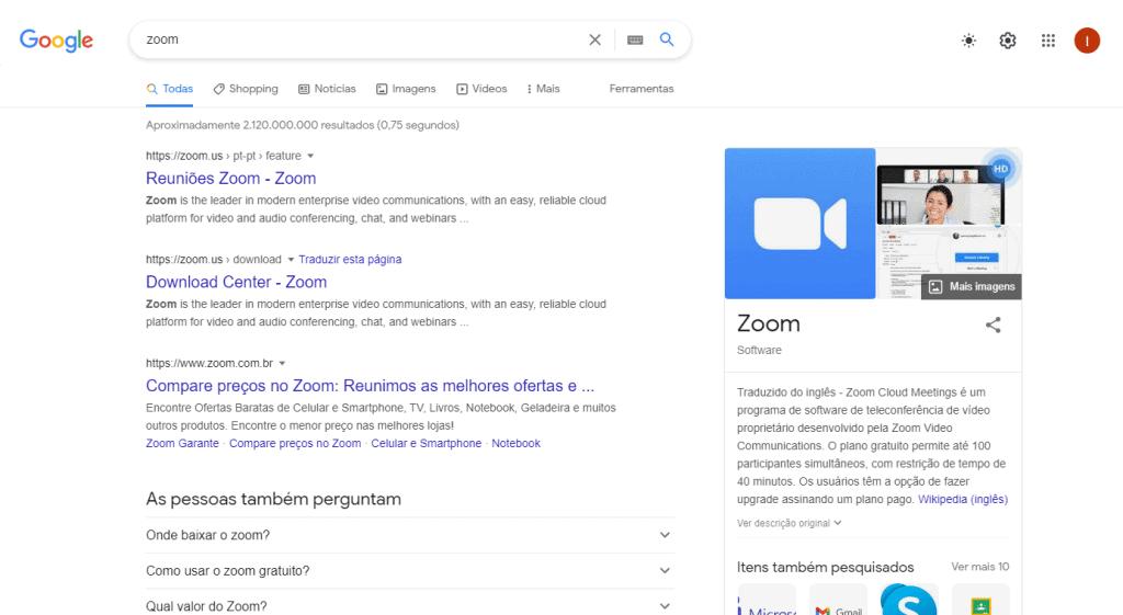 """Busca por """"Zoom"""" no Google"""