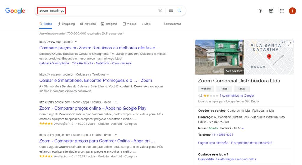 Eliminando determinados termos na pesquisa pelo Google