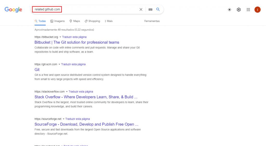Procurando por sites parecidos no Google