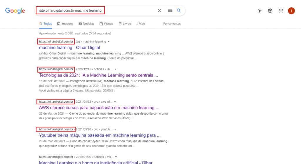 Busca por resultados de uma mesma página na web