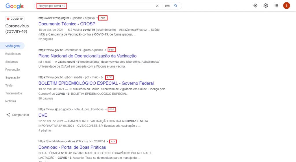 Pesquisa por determinado tipo de arquivo no Google