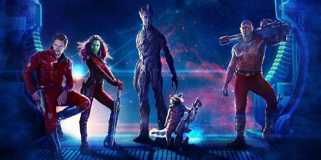 Imagem mostra a equipe dos Guardiões da Galáxia, formada por Peter Quill, Gamora, Groot, Rocky e Drax.