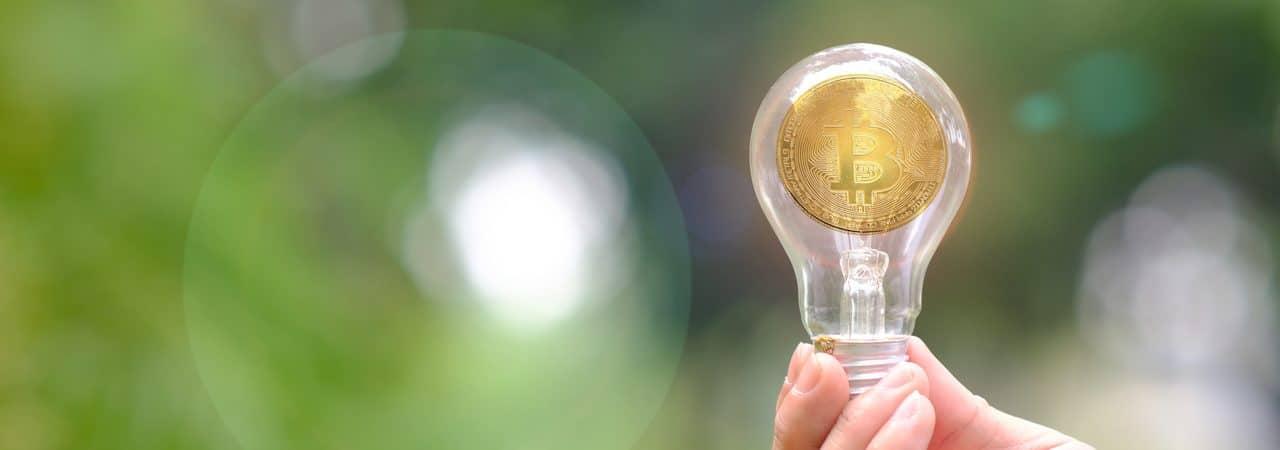 Representação de bitcoins em uma lâmpada