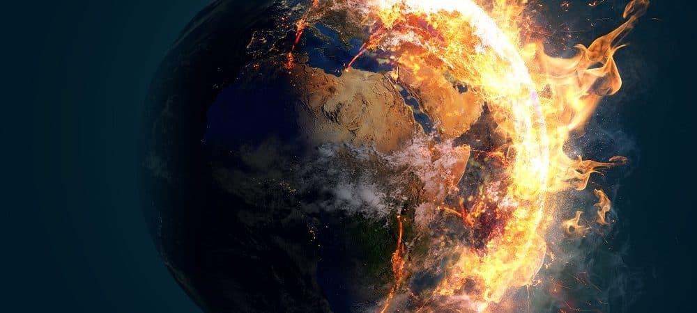 Ilustração de colapso ambiental no planeta Terra