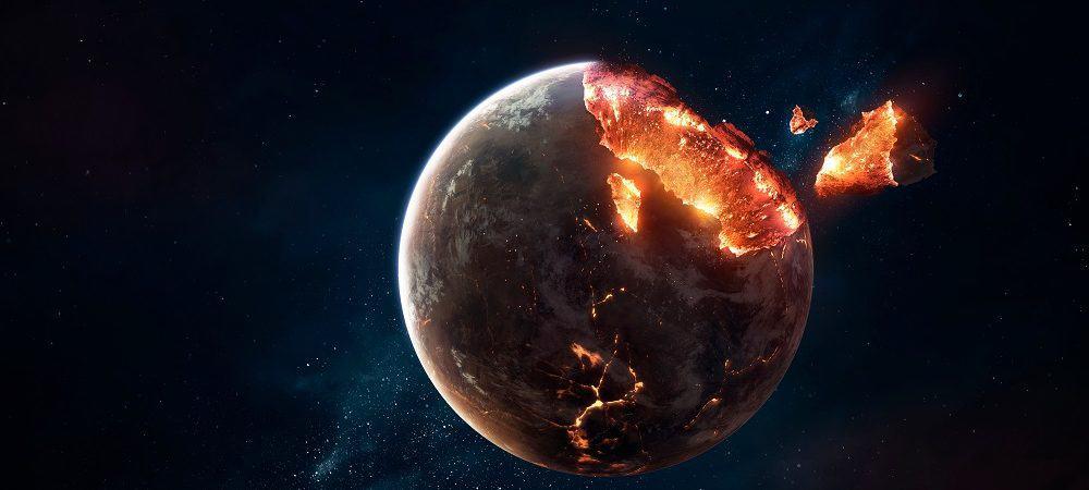 Ilustração de planeta sendo destruído