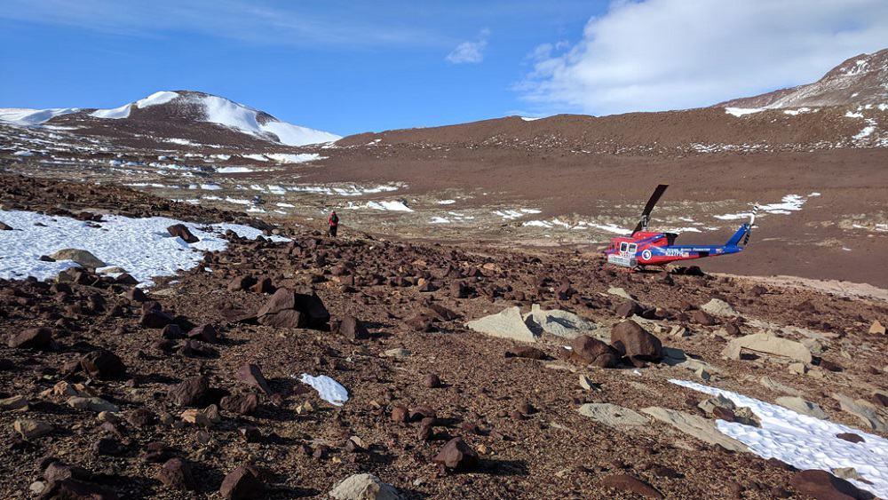 Local perto da geleira Shakelton, na Antártida, onde foram coletadas as amostras