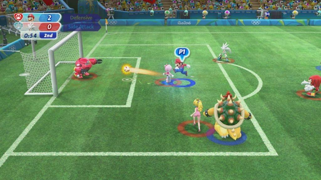 Imagem mostra personagens da Nintendo em campo de futebol.