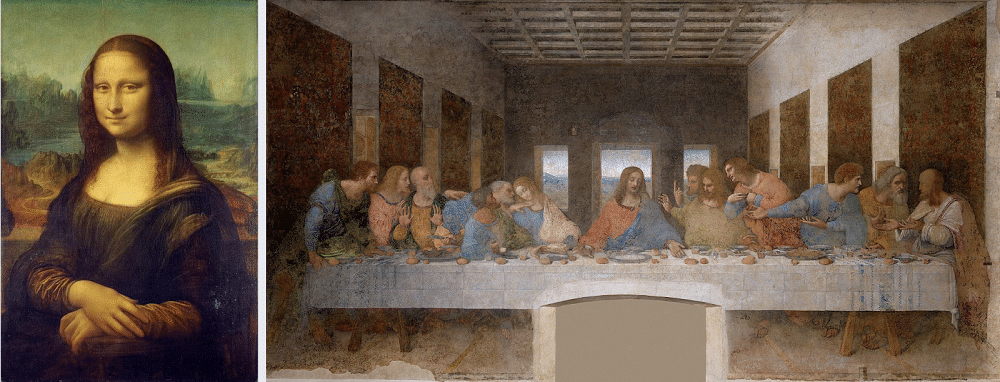 Monalisa (left) and The Last Supper (right) two of Leonardo Da Vinci's most famous works