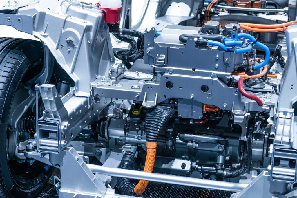 Foto de motor de coche eléctrico