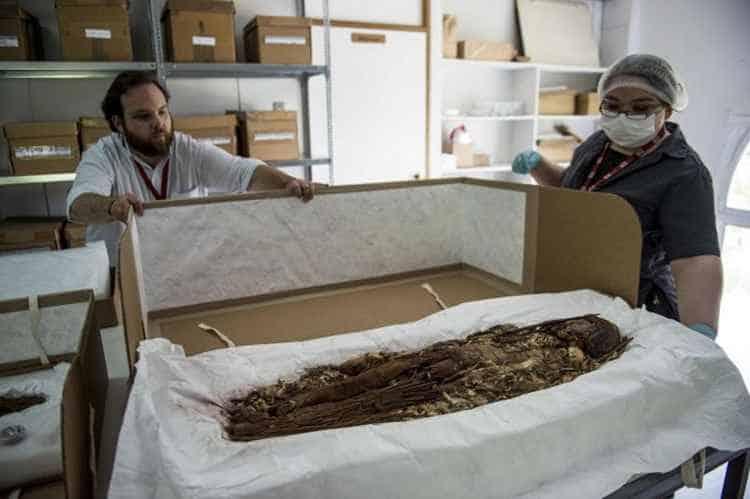 Homem e mulher tirando uma múmia de uma caixa