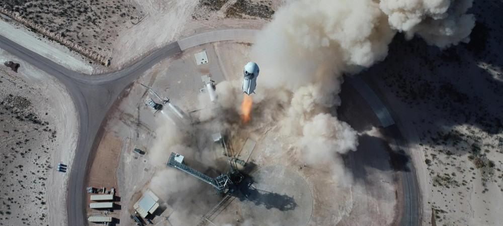 Decolagem do foguete New Shepard, da Blue Origin