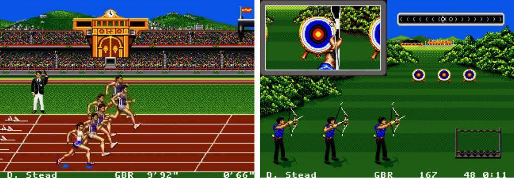 Imagem mostra tela de duas modalidades no jogo. A primeira, uma corrida, à esquerda, arco e flecha.
