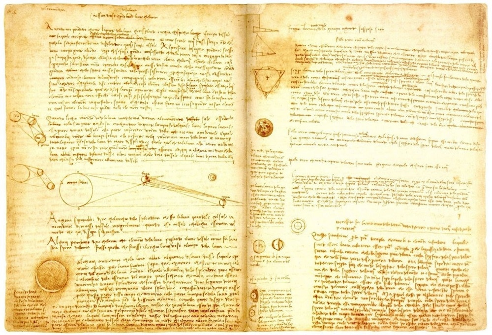 Pages from the Codex Leicester book, where Da Vinci explains cinematic light