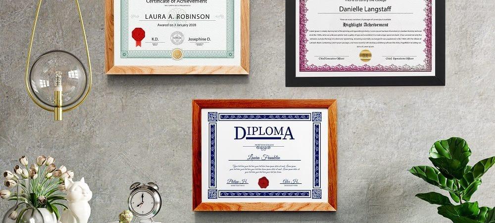 Parede com certificados