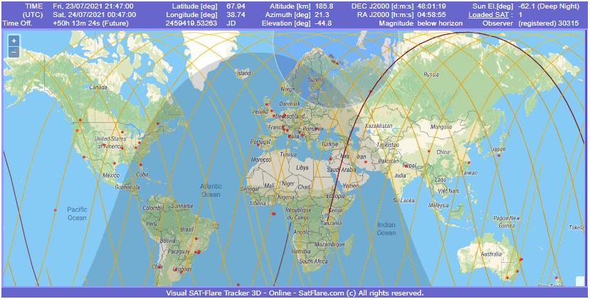 Passagens (linhas amarelas) do SL-8 R/B dentro da margem de erro da previsão da reentrada