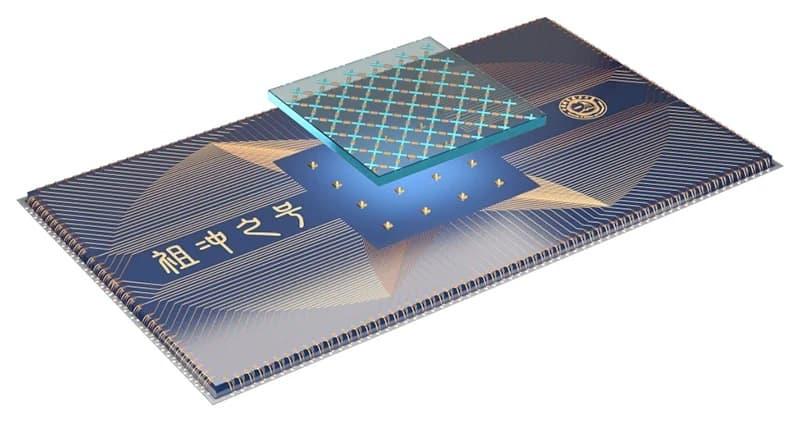 Desenho esquemático do processador quântico Zuchongzhi