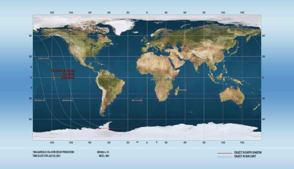 Local previsto para reentrada do  SL-8 R/B, no Oceano Pacífico (à esquerda da imagem)