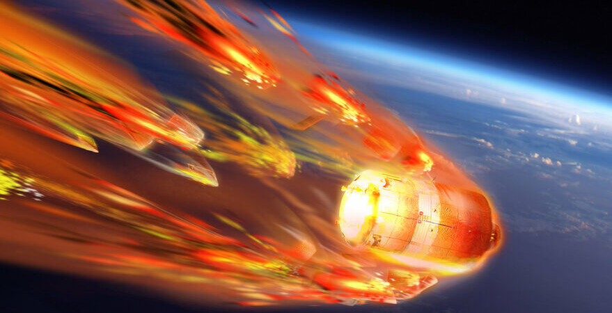 Artistic representation of the re-entry of the ATV-5 vehicle in 2015