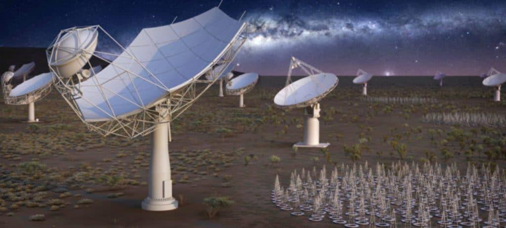 Ilustração mostra o visual do maior telescópio de rádio do mundo, quando sua construção terminar.