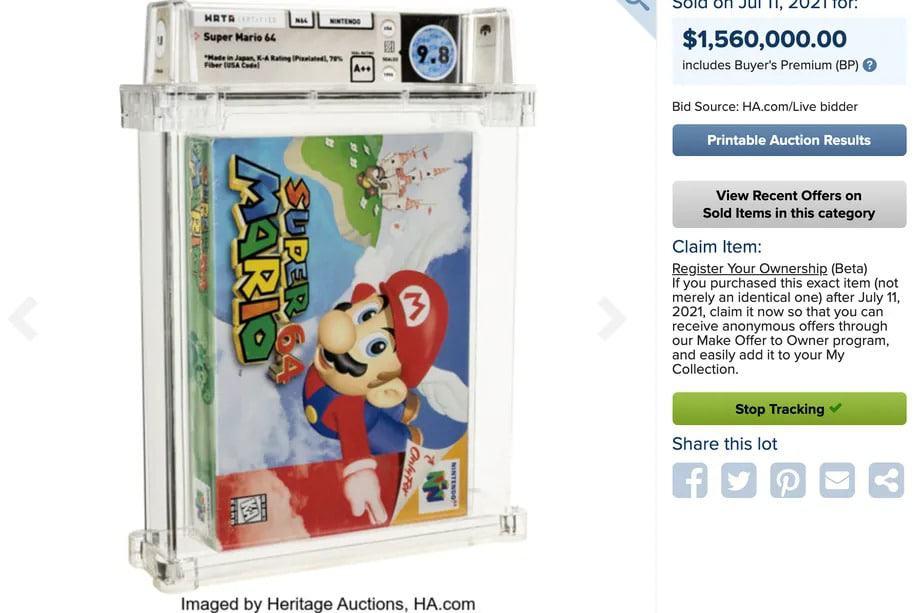Um cartucho do clássico 'Super Mario 64' da Nintendo estabeleceu um recorde mundial ao ser vendido em leilão por US$ 1,56 milhão. Imagem: Handout / Heritage Auctions