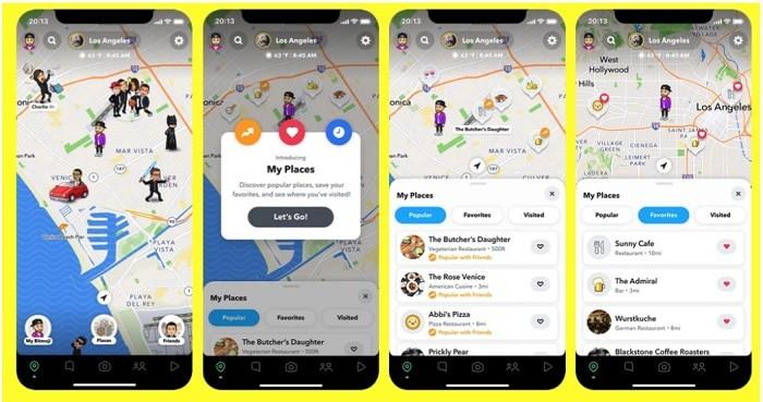 """Snapchat adiciona """"Meus Lugares"""" ao Snap Map para usuários recomendarem e conhecerem novos lugares. Imagem: Reprodução/Snapchat"""