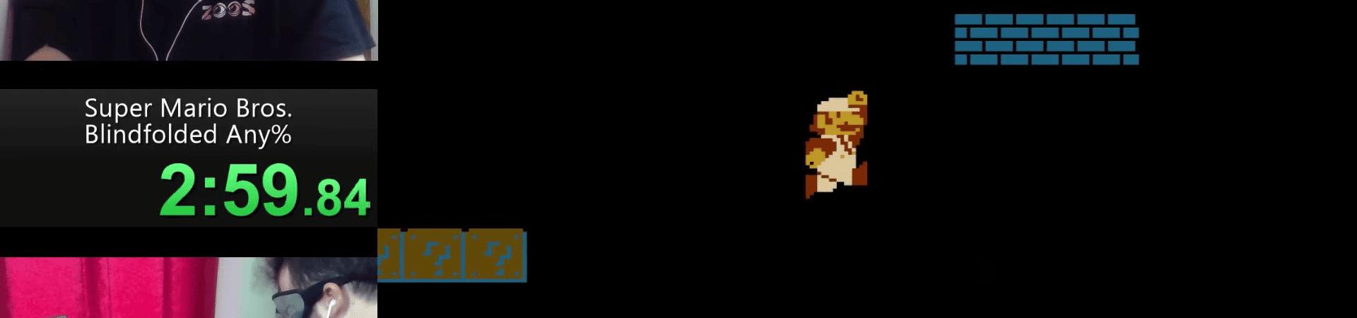 Imagem mostra tela compartilhada que exibe o jogo e mostra o speedrunner Crescendo jogando Super Mario Bros.
