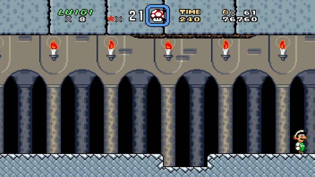 Captura de tela mostra Luigi em fase de Super Mario World