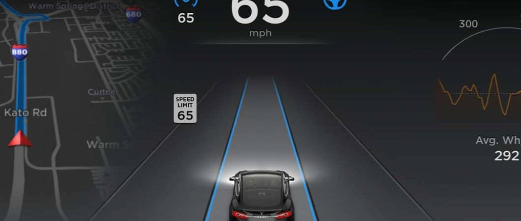 View of a driver using Tesla Autopilot