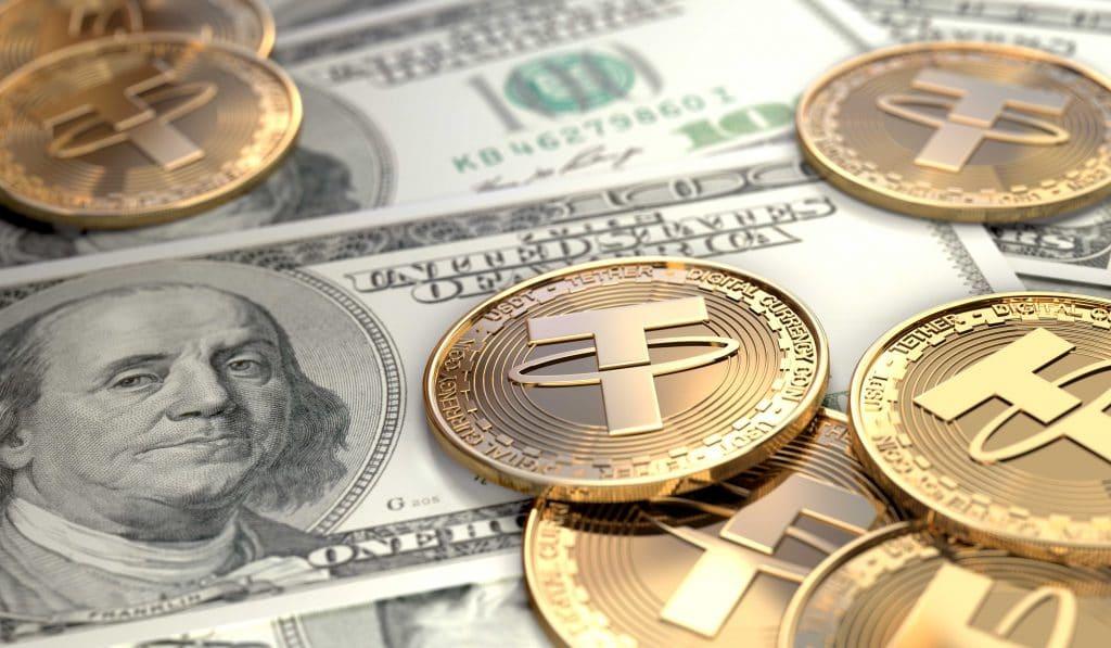 Ilustração do tether em cima de notas de dólar