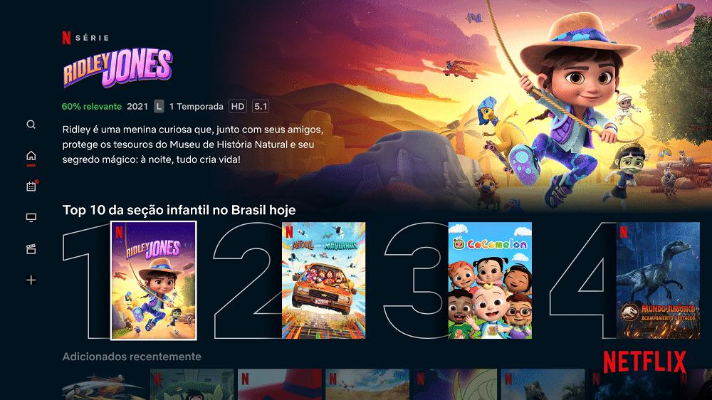 Netflix lança 'Top 10' infantil e relatórios para os pais sobre a preferência das crianças. Imagem: Netflix