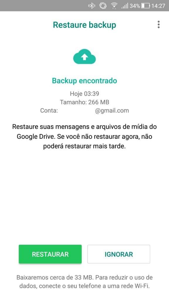 Selecionar cópia de restauração WhatsApp