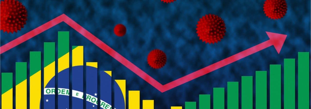 Imagem renderizada em 3D mostra gráfico que desenha a bandeira do Brasil, e acima dele, diversos desenhos simbolizando o vírus da Covid-19