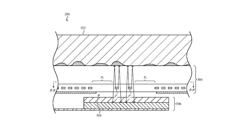 Imagem que mostra como a Apple pode vir a adotar patente tecnologia sob tela para uso do FaceID e TouchID em gerações futuras do iPhone. Imagem: USPTO/Reprodução