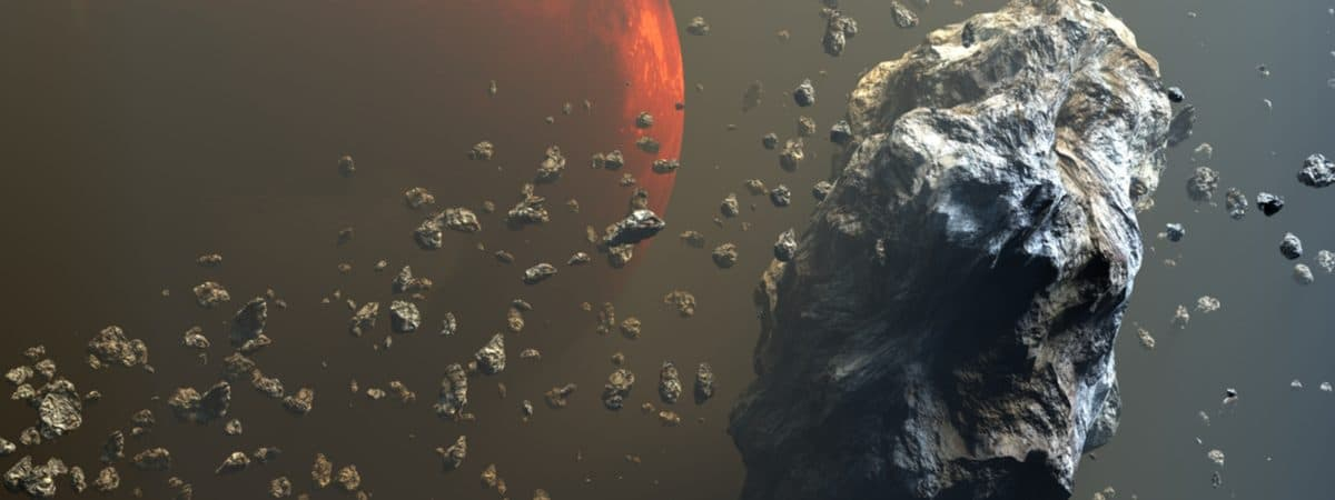 Ilustração em 3D mostra o cinturão de asteroides, com Marte ao fundo