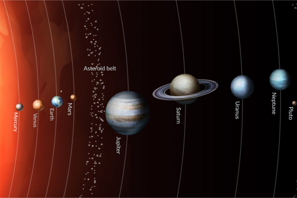 Ilustração mostra a disposição planetária do nosso sistema solar, incluindo o ponto onde cientistas encontraram possíveis traços de matéria orgânica no cinturão de asteroides entre marte e jupiter