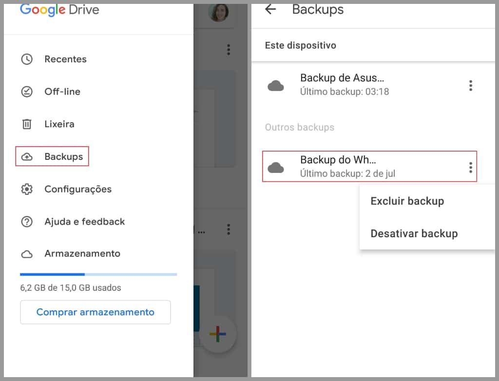 Como acessar o backup no aplicativo do Google Drive