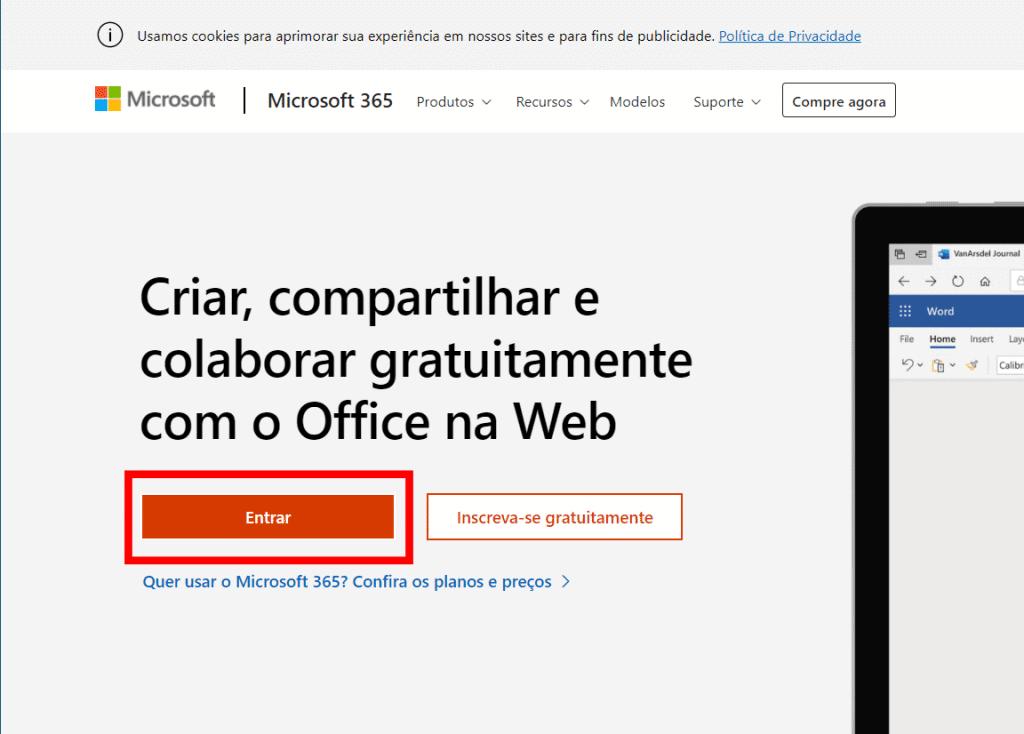 Captura de pantalla de la página de inicio del sitio web de Microsoft Office en línea