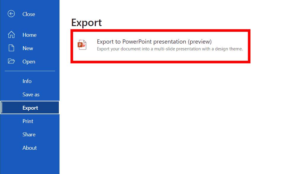 Exportar documento de Word en formato de presentación de PowerPoint
