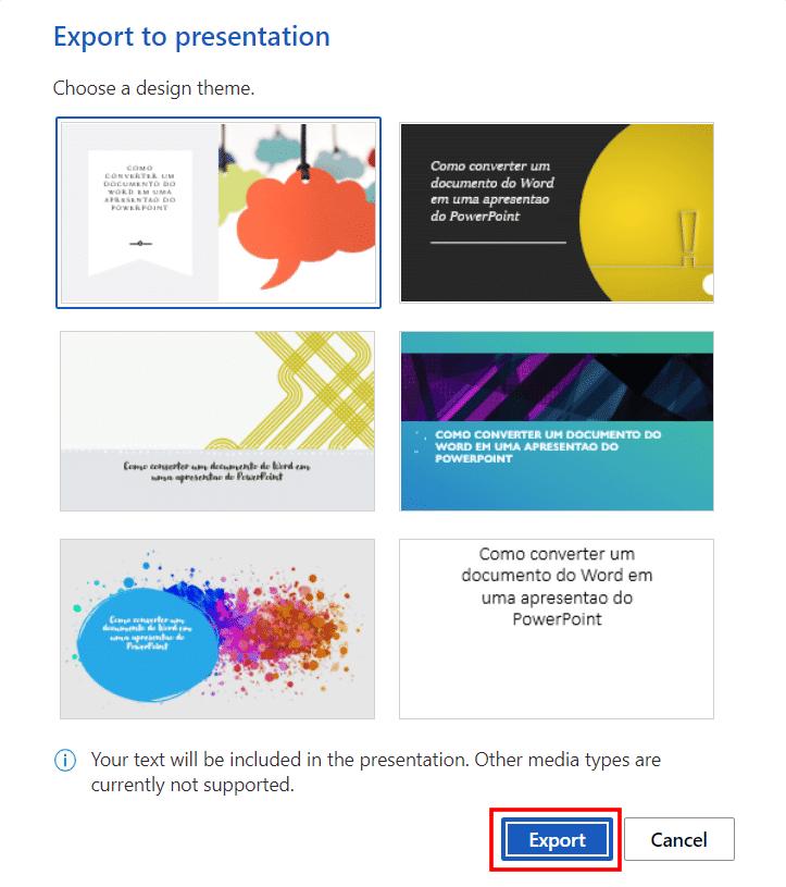 Convertir documentos de Word a PowerPoint, paso 3