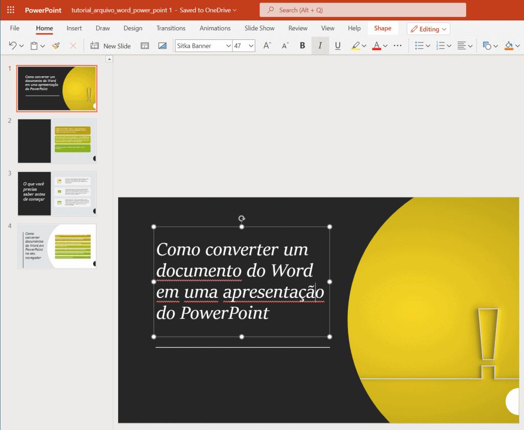 Convertir documento de Word a PowerPoint, paso 5