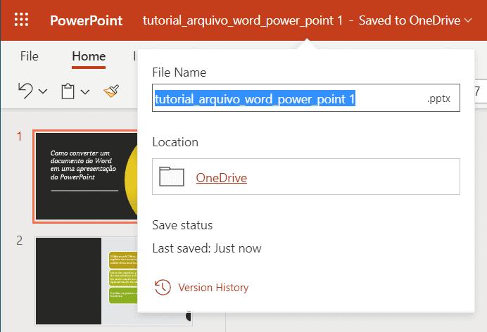 Cambio del nombre de archivo guardado como presentación de PowerPoint