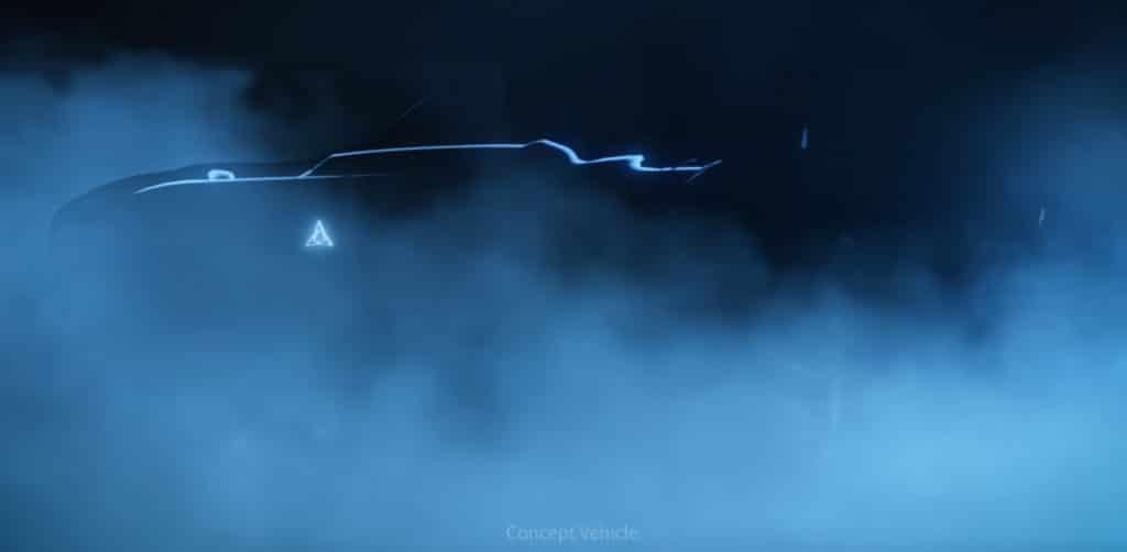 Imagem conceitual do Dodge elétrico exibe carro na penumbra revelando faixa luminosa na lateral do veículo.